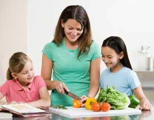 мама с детьми готовит