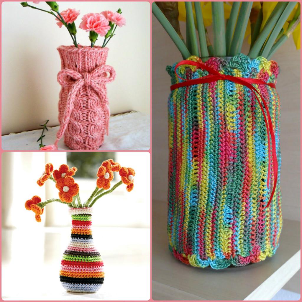 вазы в вязаной одежке