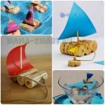 Плот или кораблик из пробок